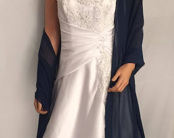Chiffon bridal wrap wedding shawl scarf sheer prom bridesmaid evening ball cover up shrug stole CW200 AVL IN navy blue and 6 other colors