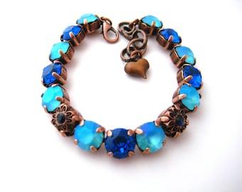 Swarovski Crystal Bracelet Capri Blue Lt. Turquoise Floral Elements Rhinestone Tennis Bracelet, Big Stone Looks, Rhinestone Bracelet, Copper
