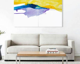 """Large Original Contemporary Abstract Painting, blue, violet, yellow, 30 x 50""""  """"Sunlight Rises """" abstract watercolor canvas, minimalist art"""