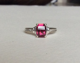 Umbalite rhodolite garnet and Diamond band ring in solid 14k white gold