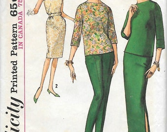 Simplicity 5231 UNCUT 1960s Sleek Top Skirt and Pants Vintage Sewing Pattern Size 10 Wiggle Skirt Mad Men