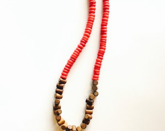 Bamboo Coral and Wood Necklace