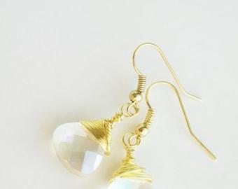 Briolette Earrings, Drop Earrings, Wire wrapped Briolette, Crystal Earrings, Wedding Jewelry, Minimalist drop Earrings, Dangle Earrings