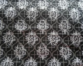 Cotton Block Print Fabric, Black White Paisley Print Fabric, Floral Indian Fabric, Cotton Fabric By The Yard, India Block Printed Fabric