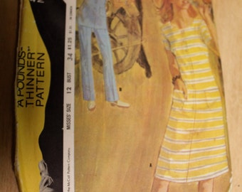 """Vintage 1971 McCall's """"Pounds Thinner"""" Pattern 2788 - Dress or Tunic & Pants Size 12 Bust 34"""