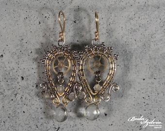 Prehnite steampunk dangle earrings - silver and brass earrings with gears - elegant steampunk jewelry - victorian earrings