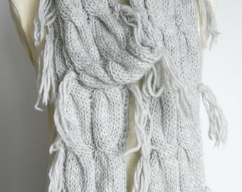 SALE - Cable Fashion - Grey - Hand Knitted Wool Yarn Long Cable Scarf