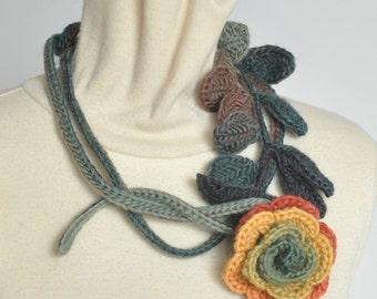 Long Stem Rose - Orange - Crochet Rose Lariat