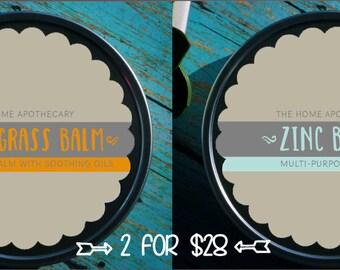 SALE! (1) Zinc Balm + (1) Lemongrass Balm = (2) 8oz tins for 28