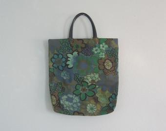 Cute 50s Green Floral Market Bag - Vintage Spring Greenery Tote Bag - Vintage 1950s Bag