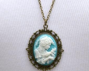 Cameo Pendant, Aqua Blue Cameo Necklace, Gift for Her, Mother's Day Jewelry, Bird Cameom Silhouette Cameo, Blue White Cameo, Garden Wedding