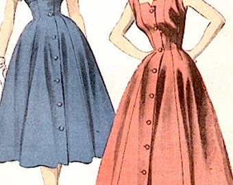 Uncut 1950s Fitted Dress Advance 6022 Fitted Princess seams, flared gored full skirt, pointed cuffs Vintage Sewing Pattern Bust 33 Hip 36