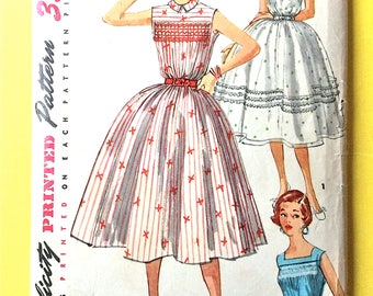 Uncut 1950s Simplicity 1047 One-Piece Dress  fitted full skirted party dress  Vintage Sewing Pattern  Bust 34 inches
