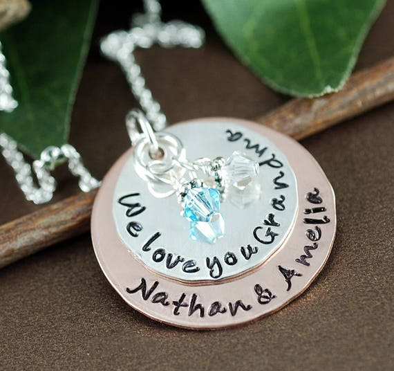 Personalized Grandma Necklace, Personalized Jewelry, We Love You Grandma, Grandma Jewelry, Grandmother Necklace,  mixed metal necklace