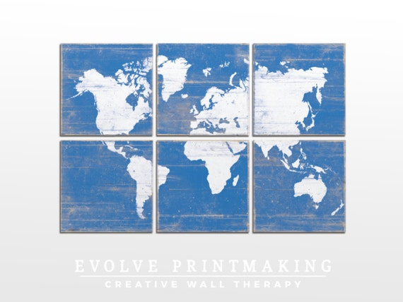 Old World Map Wall Art - Vintage Distressed World Map - Custom Made Office Decor