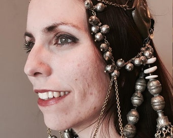Tribal fusion bellydance headdress Tassels with antique hearts
