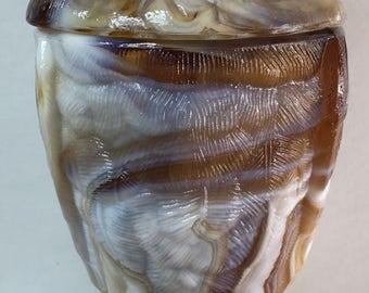 Glass Owl Jar, Caramel Slag, End O' Day Vintage Imperial