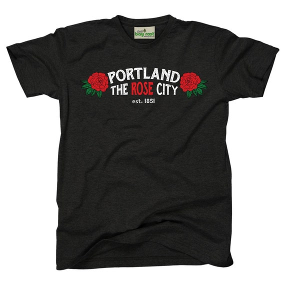 Portland rose city adult t shirt for Portland t shirt printing