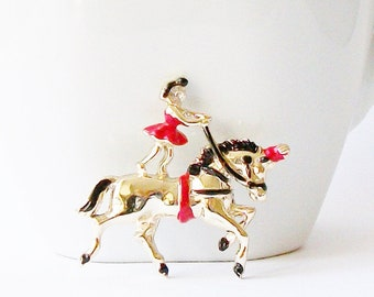 Vintage Circus Trick Riding Horse Brooch