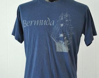 80s Vintage Burnout Tee Bermuda Tall Ship Sailing Bahamas Nautical Summer Vacation Navy Blue Super Soft Thin TShirt