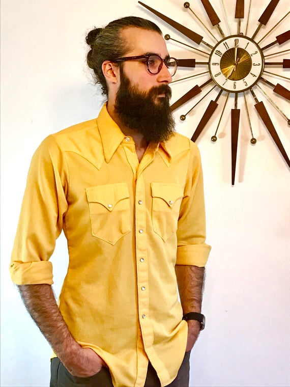 Vintage 60s Yellow Rockmount Ranch Wear Western Pearl Snap Shirt Long Sleeve Big Butterfly Collar Button Down Ribbed 1960s Cowboy Top Mens