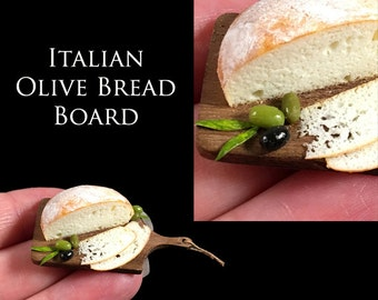 Luxury Italian Olive Bread - set on a Fine handmade Italian Walnut Board - Artisan fully Handmade Miniature Dollhouse Food in 12th scale.