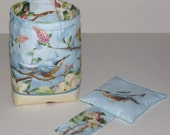 Reserved for Kelly: Thread Catcher Bag, Catch-all Scrap Caddy, Blue with Birds and Blossoms
