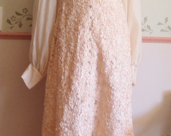 wedding dresses, palest peach 60s dress, covered in ribbonwork, incredible embroidery, entire dress covered, long sleeve dress