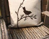 Bird Pillow, Bird Decor,Bird and Branch Sewn onto Cushion, Bird Gifts, Ultra Suede Applique, Hidden Zipper, Eco-Friendly, Nature Theme