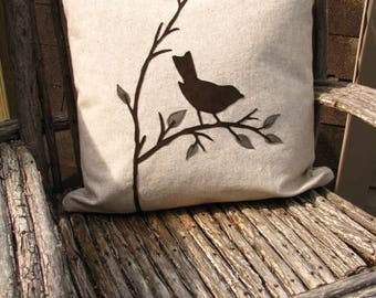 Bird Pillow, Bird Decor,Bird Cushion, Bird Gifts, Ultra Suede, Hidden Zipper, Eco-Friendly, Nature Theme