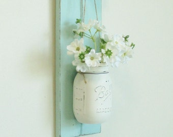 Chic  Farmhouse Weathered Wood Wall Decor... Hanging Mason Jar Sconce on Distressed Painted Boards.. Glass Knob.Wall Decor