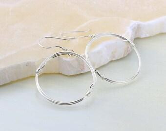 Dangle Hoop Earrings - Sterling Silver Earrings - Wire Hoops - Front Facing Hoop Earrings - Minimalist Earrings
