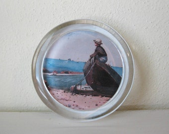 Vintage Paperweight, Boy by the Sea
