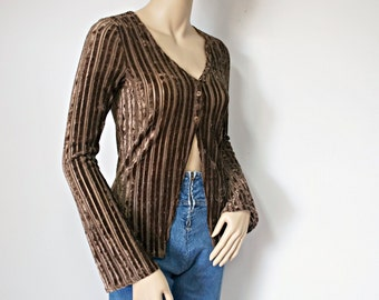 Velvety Blouse Boho 1970's Ribbed Brown Blouse Sexy Size Medium Size Small
