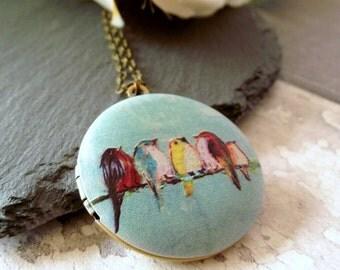 Bird locket, locket necklace, bird necklace, keepsake locket