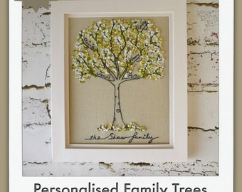 Personalised Family Trees, freehand embroidered with family names added, large A4 size. Personalised with names MADE TO ORDER