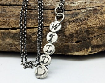 Wild Heart Bar Necklace - Sterling Silver - Quote Jewelry - Personalized Jewelry - Gypsy Women