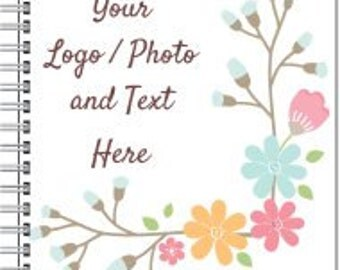 """5"""" x 8"""" Spiral Notebook Use Own LOGO or PHOTO Design Custom Personalized Quantities 1-200"""