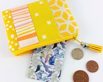 Yellow handmade change purse | Women's wallet | Zipper pouch | Stocking filler | Small gift | Bag organiser