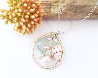 Hawaiian shell necklace - Beach jewelry, tropical bridesmaid jewelry, unique Hawaiian shell jewelry, sterling silver dainty beach jewelry