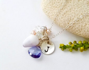 Beachy shell necklace with personalized initial - Beach babe necklace made in Hawaii, shell jewelry, Hawaiian necklace with shells