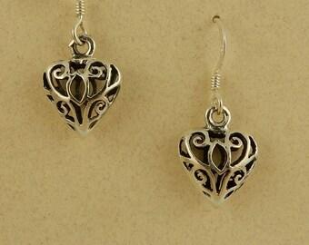 Vintage sterling silver 3D puff filigree heart earrings