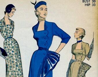 1950s  Advance Pattern 5657  * RARE * Asymmetric Drape Evening Dress Ball Gown Portrait Neckline * Size 12, bust 30 * UNCUT