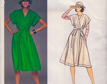 Jean Muir  * UNCUT * Vogue Designer Original Pattern 1445 *  Misses' Wrapped Dress and Hat  * Size 10, Bust 32.5