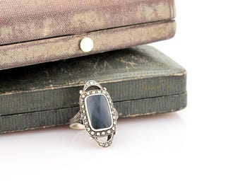 Art Deco Vintage Onyx Ring | Sterling Marcasite Ring | Silver Deco Ring | Size 7