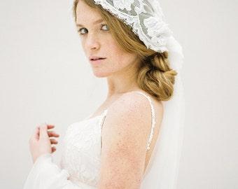 Wedding Veil, Lace Veil, Juliet Cap Veil, Mantilla Veil, Bridal Veil, Long beaded Veil, Ivory Veil, Fingertip Veil, Beaded Veil - Style 618