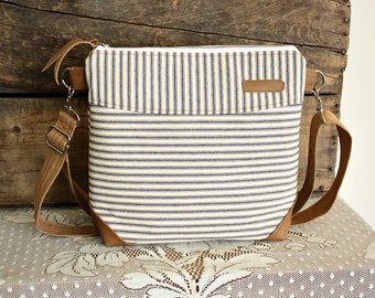 Stripe crossbody Purse handbag satchel Vegan Leather trim --Made to Order--