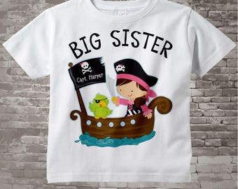 Big Sister Pirate Shirt, Personalized Pirate Shirt or Onesie with Your Child's Name (11122014d)