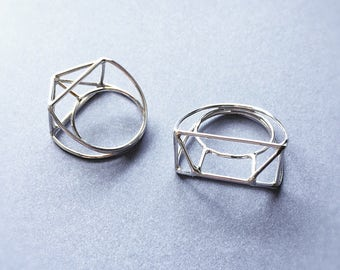Sterling Silver Ring, Geo Silver Ring, Architecture Ring, Statement Silver Ring
