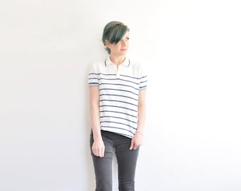 preppy striped polo shirt . white navy blue nautical . short sleeve menswear for her .extra small.small.medium.xs